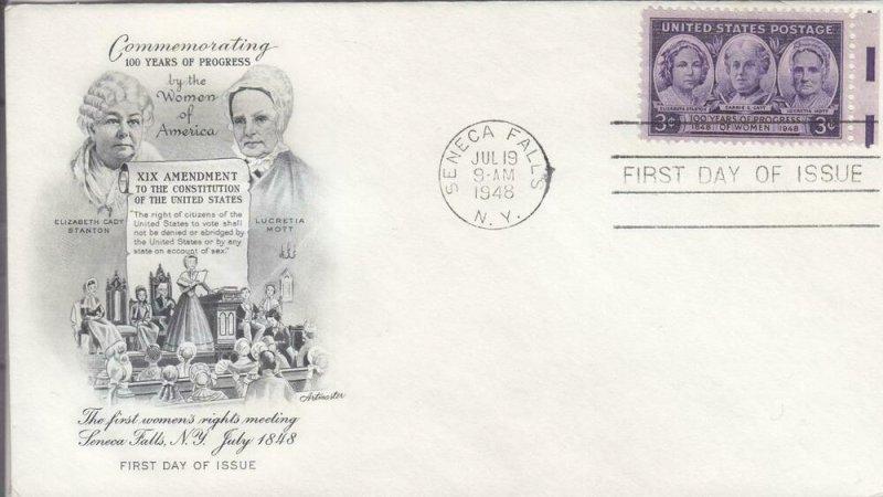 1948, 100th Anniv. Women Progress in America, Artmaster, FDC (E7684)