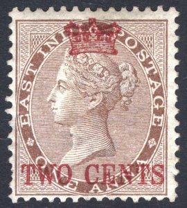 Malaya Straits Settlemts 1867 2c on India 1a Brn SG 2 Sc 2 LMM/MLH Cat£170($215)