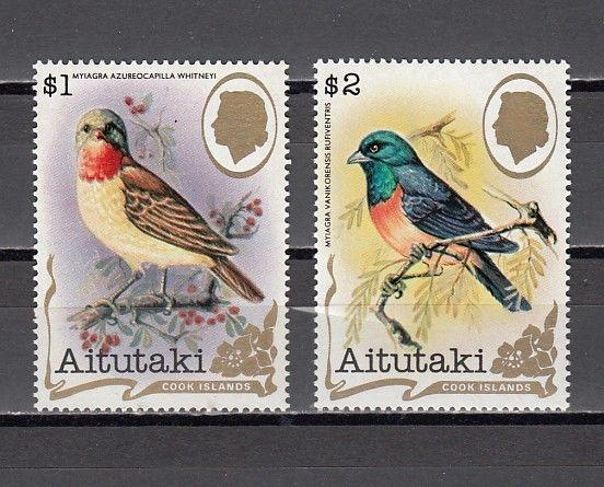 Aitutaki, Scott cat. 246 A-B. Bird Definitive values.