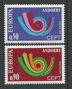Andorra-French # 219-20  Europa 1973  (2) Mint NH