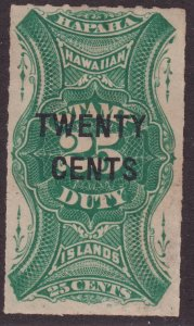 Sc# R7 Hawaii Island 1893-94 MNG 20¢ on 25¢ surcharged revenue issue CV $60.00