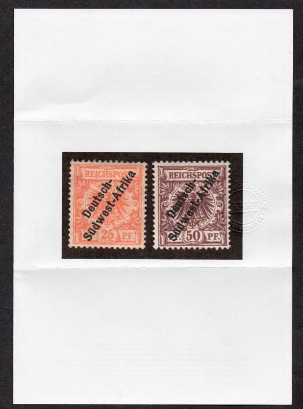 **German SW Africa, SC# 5-6 (MiIa&II) MLH VF Attest Cert, CV $450.00