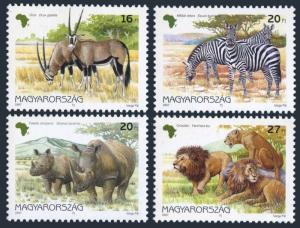 Hungary 3572-3575,3576,MNH.Mi 4450-53,Bl.242. African animals:Oryx gazella,Bird