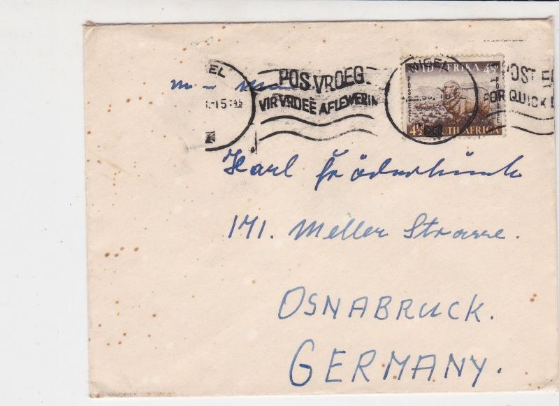 South Africa 1953 Nigel Cancel Slogan Cancel Merino Ram Stamps Cover Ref 29296