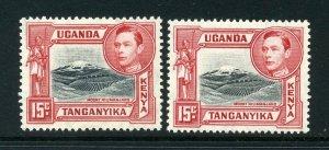 KUT 1938 KGVI 15c BOTH perfs SG 137, 137a mint. Kenya Uganda Tanganyika