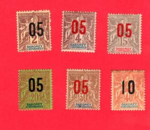 DAHOMEY 6 DIFFERENT MINT STAMPS SCOTT # 32 - 35, 36 and 37