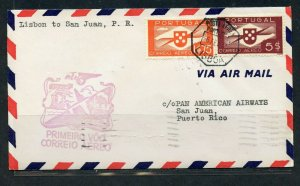 PORTUGAL LISBON 2/6/1941 PAA FFC TO SAN JUAN PUERTO RICO 2/8/1941 AS SHOWN