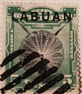 LABUAN (North Borneo) 1894,  5 cent green/black.