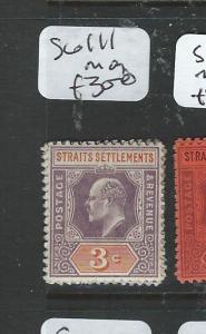 MALAYA STRAITS SETTLEMENTS (P2004B) KE 3C  SG 111  MOG