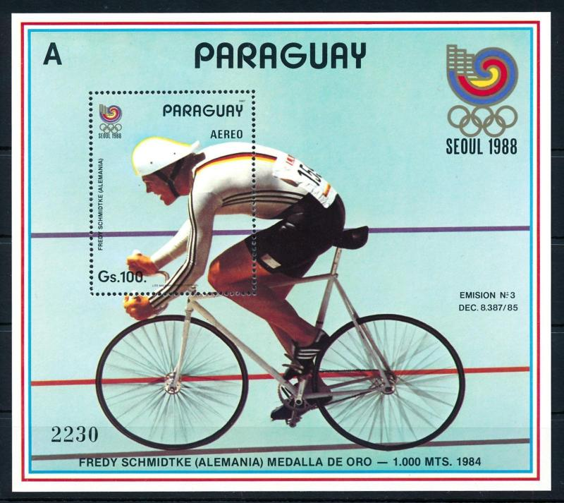 [92362] Paraguay 1987 Olympic Games Seoul Cycling A Sheet MNH