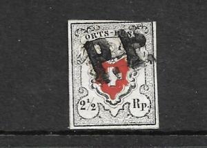 SWITZERLAND 1850 2 1/2rp ORTS POSTE  FU SG 1