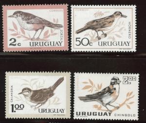 Uruguay Scott 695-698 MH* 1963 Bird stamp set