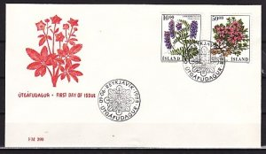 Iceland, Scott cat. 663-664. Flowers issue. First day cover. ^