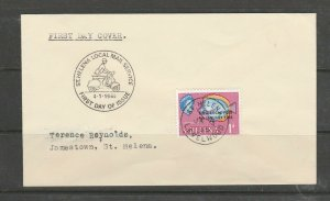St Helena 1965 Local Mail service FDI, 1d value, LEVELWOOD cds