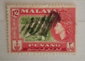 Malaya Penang 1957 Queen Elizabeth II & Local Motives Bersilat used