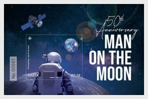. Malta stamps 2019. 50th Anniversary Man On The Moon - Miniature Sheet