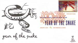 Lunar New Year: Year of Snake FDC, w/ DCP cancel.