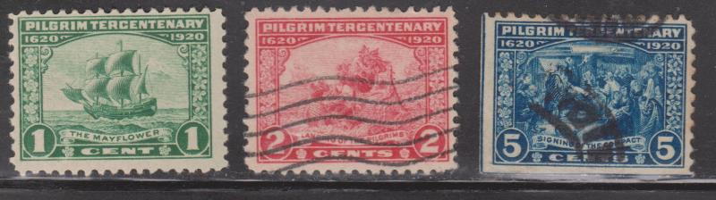 USA Scott # 548-50 - Mint & Used - Pilgrim Tercentenary Issue