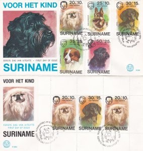 Suriname #  B231-235 & B233a, Children & Dogs on 2 First Day Covers