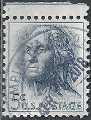 US 1213 (used) 5¢ Washington, dk blue gray (1962)