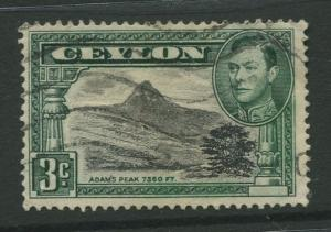 STAMP STATION PERTH: Ceylon #279a  Used  1938  Single 3c Stamp