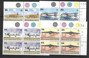 BRITISH INDIAN OCEAN TERR SG124/7 1992 VISITING AIRCRAFT BLOCKS OF 4 MNH