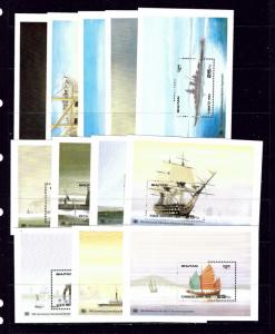Bhutan 749-60 MNH 1989 Ships complete set of souvenir sheets