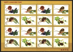 Uganda. 1996. Small sheet 1646-49. Chinese New Year, Year of the Mouse, Mouse...