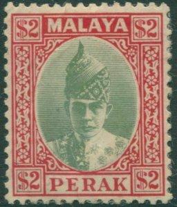 Malaysia Perak 1938 SG120 $2 green and red Sultan Iskandar MLH