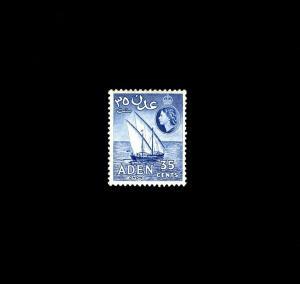 ADEN - 1953 - QE II - DHOW - SAILBOAT - # 52 - MINT - MNH SINGLE!