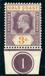 Gold Coast 1905 KEVII 3d dull purple & orange (O) superb MNH. SG 53. Sc 53.