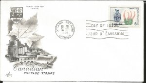 J) 1966 CANADA, PURPLE FIREWEED, FLORAL EMBLEM, CANADIAN, FDC