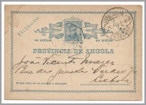 ANGOLA (Portugal) - 1904 - 10r King Carlos Postal Card Loanda to Lisboa