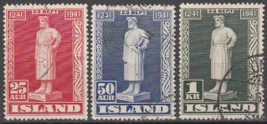 Iceland #237-9  F-VF Used  CV  $15.25  (S6768)