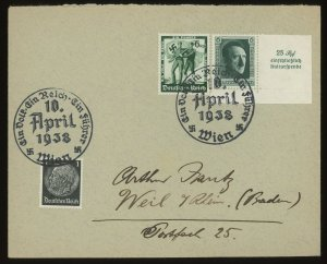 1938 Germany Austria Wien Cover Sc # 415, #484, #B106a