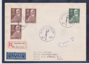 Sweden Scott # 693-695 Registed FDC 1966 Nobel Peace Prize