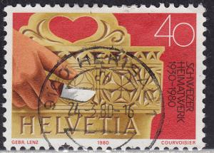 Switzerland 682 USED 1980 Hand Carved Milk Bucket 40c