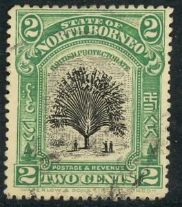 NORTH BORNEO 1909-22 2c TRAVELER's PALM Pictorial Sc 137 CTO Used