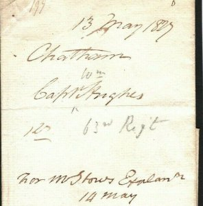 GB Cover Historic Letter Military GPO Complaint Manchester Rgt Charge 1827 H159