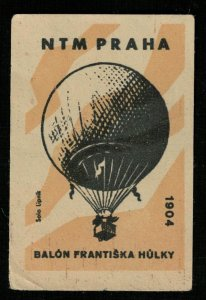 Balon Frantiska Hulky 1904, NTM PRAHA, Matchbox Label Stamp (Т-8277)