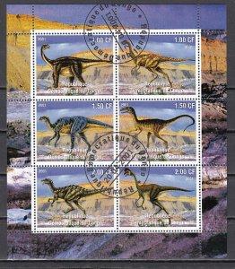 Congo Dem., 2001 issue. Dinosaurs sheet of 6. Canceled. ^