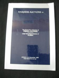 HARMERS SA AUCTION CATALOGUE 1988 FRENCH COLONIES & GOLD MEDAL RUSSIA