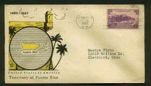 801 PUERTO RICO FDC SAN JUAN, PR PLANTY 801-27a LINPRINT CACHET