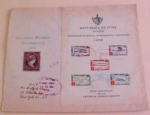 CUBA  LARGE FDC SHEETLET 1945 TO USA