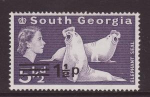 1977 South Georgia 1½p On 5 ½d U/M