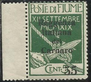 FIUME 1920 REGGENZA ITALIANA DEL CARNARO CENT. 55 SU 5c MNH