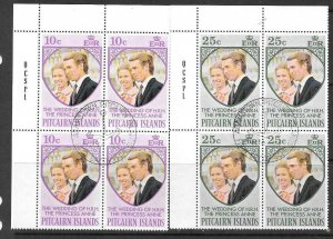 PITCAIRN ISLANDS SG131/2 1972 ROYAL WEDDING IN BLOCKS OF 4 FINE USED