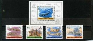 TRISTAN DA CUNHA 1988 SHIPS/WHALING SET OF 4 STAMPS & S/S MNH