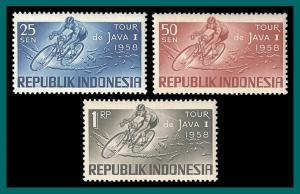 Indonesia 1958 Cycle Race, MNH  465-467,SG620-SG624