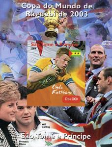 Sao Tome & Principe 2004 Rugby Clyde Rathbone Deluxe s/s mnh.vf